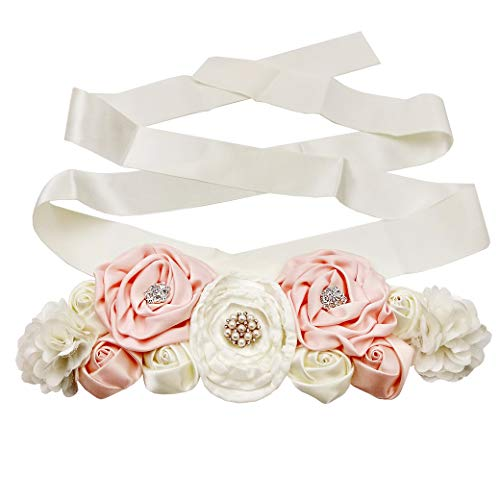(Lujuny Floral Bridal Maternity Sash Belt – Flower Ribbon Tie for Women Girls Wedding Pregnant Baby Shower Party Photoshoot (Beige Pink))