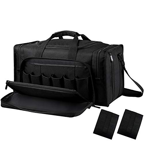 SoarOwl Tactical Gun Range Bag Shooting Duffle Bags for Handguns Pistols with Lockable Zipper and Heavy Duty Antiskid Feet(Black)