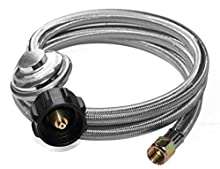 """DOZYANT 5 Feet Universal QCC1 Low Pressure Propane Regulator Replacement with Stainless Steel Braided Hose for Most LP Gas Grill, Heater and Fire Pit Table, 3/8"""" Female Flare Nut, SS"""