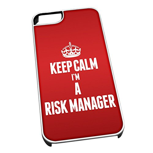 Bianco cover per iPhone 5/5S 2667 Red Keep Calm I m A rischio manager
