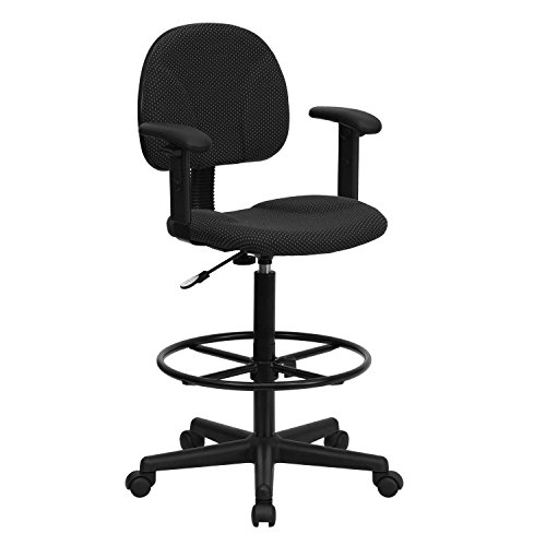 "Flash Furniture Black Patterned Fabric Drafting Chair with Adjustable Arms (Cylinders: 22.5""-27""H or 26""-30.5""H)"