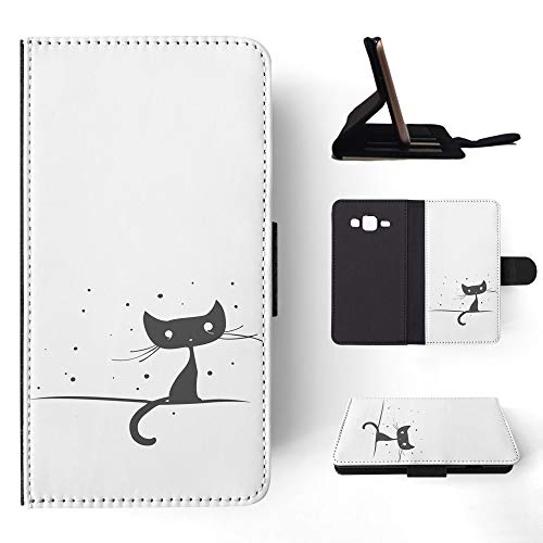 3170 Black Matte - Minimalistic Cat 2 Flip Wallet Phone Case Cover for Samsung Galaxy J3 (2016)