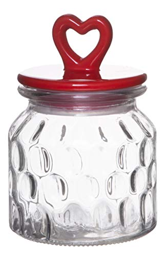 Red Co. Small Food Storage Rain Drop Pattern Glass Jar Canister with Red Heart Shaped Ceramic Airtight Lid, 22.75 Ounces