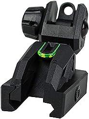 Valken Rifle Accessory Folding Rear Sight, Black/Neon