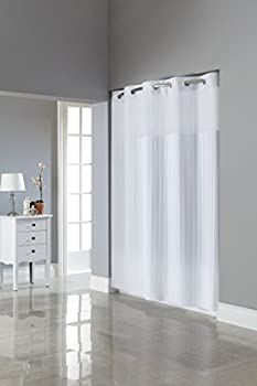 "Hookless RBH35MY053 Hookless Victorian Stripe Bright White - Bright White 71""W x 74""L"