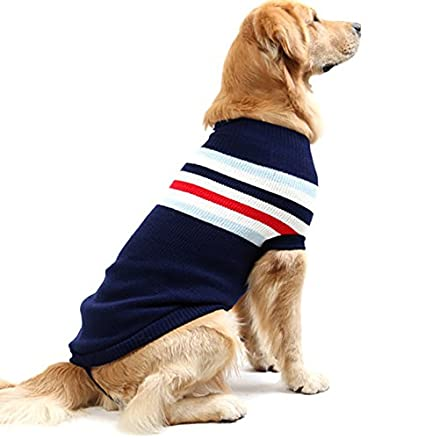 ASOCEA Dog Stripes Classic Sweater Winter Warmth Pet Clothes Apparel for Medium /& Large dogs Large