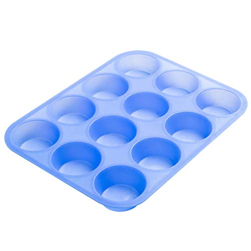 Aokinle Silicone Muffin Pan-Cupcake Baking Pan,12 Cup Bakeware Molds,Non-Stick BPA Free,Tray Tools