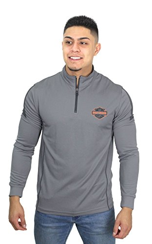 (Harley-Davidson HAAF-HC35 Mens Elite Injection B&S Mock Neck Synthetic 1/4-Zip Grey Long Sleeve Sweatshirt (Large))