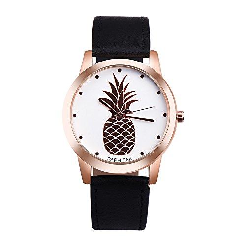 Women's Quartz Watch,Yamally Unisex On Wrist Watch Pineapple Faux Leather Analog Quartz Watches ()