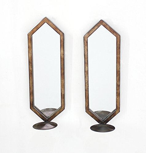 Minimalist Mirrored Wall Candle Holder Sconce Set by HomeRoots