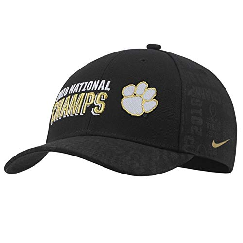 Clemson Tigers College Football Playoff 2018 National Champions Locker Room Adjustable Hat - Black (One Size)