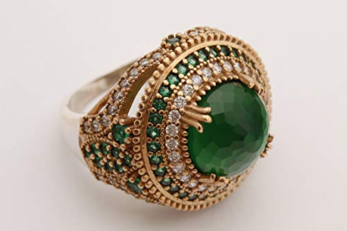 Turkish Handmade Jewelry Round Shape Emerald and Round Cut Topaz 925 Sterling Silver Ring Size Option