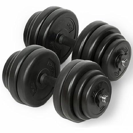 Physionics - Juego de banco de pesas con reposabarras, barra curva, mancuernas y barra larga (28 pesas de 1 a 10 kg): Amazon.es: Deportes y aire libre