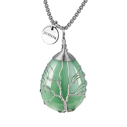 JADENOVA Family Tree Necklace Tree of Life Natural Aventurine Gemstone Pendant Handmade Teardrop Pendant Necklace 24 Inches Stainless Steel Chain ()