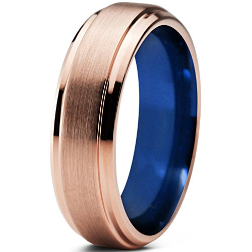 Tungsten Wedding Band Ring 6mm 8mm for Men Women Blue 18k Rose Gold Beveled Edge Brushed Polished FREE Custom Laser Engraving Lifetime Guarantee