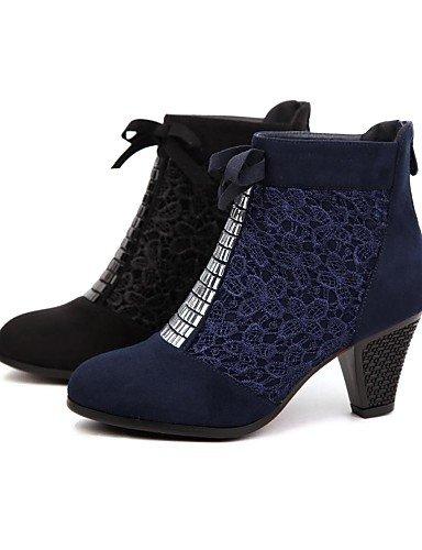 Xzz Cn38 Mujer us7 Vestido Black 5 Robusto Negro Semicuero Eu38 Blue 5 Uk6 Azul Punta De Tacón Redonda Cn39 Eu39 Zapatos Uk5 Botas us8 rgAEr