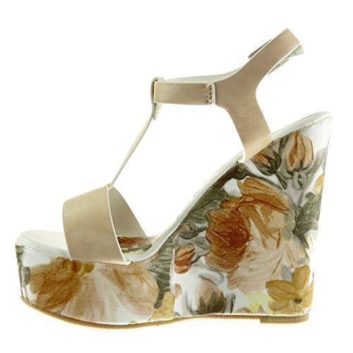 Angkorly - Scarpe da Moda sandali Mules cinturino zeppe donna fiori Tacco zeppa piattaforma 13.5 CM - Beige