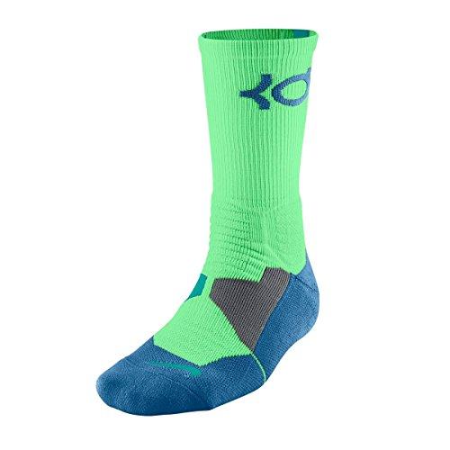 Nike KD Hyper Elite Lime Green/Aqua Blue Basketball Cushioned Men's Socks L 8-12