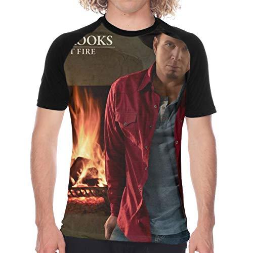 Summer Man Casual Baseball Short Sleeves Shirt Raglan Sleeve T Shirts L - Garth Brooks Black (Garth Brooks Two Of A Kind Original)
