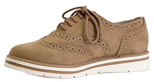 Lusthave Mujeres Tinsley Lace Up Plataforma Brogue Trim Oxford Flats Sneakers Mocasines Natural