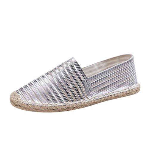 Espadrillas on Traspirante Righe Punta Donne Basse Chiusa a Mocassini Unisex Argento Slip Pantofole Outdoor Jitong xHqwTB5