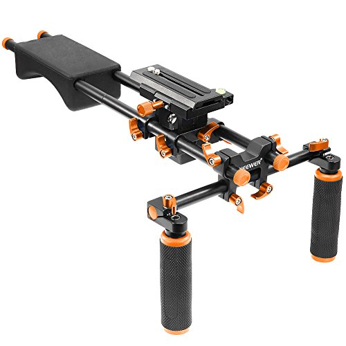 Neewer Portable Camera Movie Video Making System With Camera/Camcorder Mount Slider, Soft Rubber Shoulder Pad and Dual-hand Handgrip For All DSLR Video Cameras and DV Camcorders(Orange) by Neewer