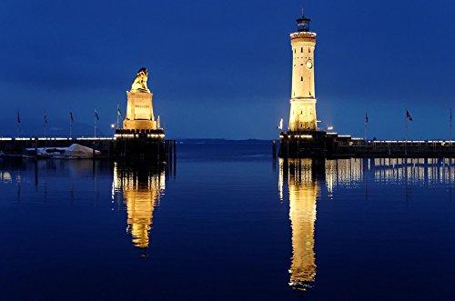 - Home Comforts LAMINATED POSTER Lighthouse Lindau Mirroring Night Photograph Port Poster Print 24x16 Adhesive Decal