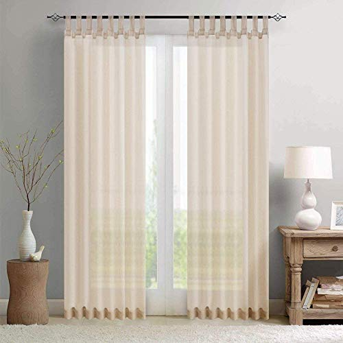 Sheer Curtain Panels for Living Room 95 inch Length Window Curtains Voile Window Treatment Set with Tab Top, 2 pcs, Tiebacks Included, Nature