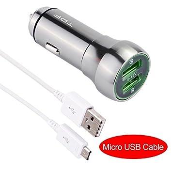 Cargador de coche carga rápida 3.0 48 W Dual USB todos los Metal utra-fast 2 USB cargador de coche [2 x QC 3.0 Puerto] para Samsung Galaxy Note 5, ...
