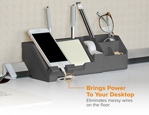 Bostitch Konnect 17-Piece Desktop Organizer Kit, Includes Cable Management Rails, Power Hub, Charging Phone Dock, Tape Dispenser, Sticky Notes, Storage Bins, Black (KT-CKIT5-BLK) by Bostitch Office (Image #2)
