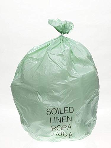 Soiled Linen Printed Liner Bags, 23 Gallon, 19 Microns, Size 29x45, Case of 250 Bags, Green