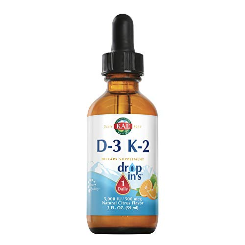 KAL D-3 and K-2 DropIns | 5000 IU / 500 MCG | Healthy Bones, Heart & Immune Function Support | Natural Citrus Flavor | 2 FL OZ | 59 Servings