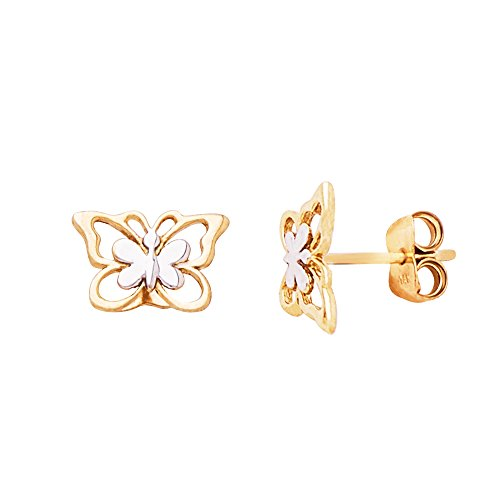 14K Gold Two Tone Yellow & White Double Gold Butterfly Push-Back Stud (Yellow Gold Butterfly Earrings)