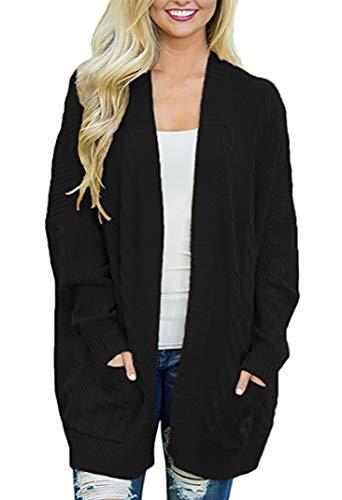 Miatty Women's Solid Soft Oversized Long-Line Long Sleeve Open Front Knit Cardigan Sweater Coat with Pocket Black XXL