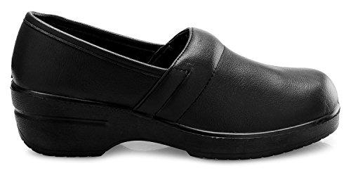 OLIVIA K Womens Relaxed Fit Easy Slip On Resistant Office Work School Uniform Flatform Shoes Black Pu JOjqGSXlt