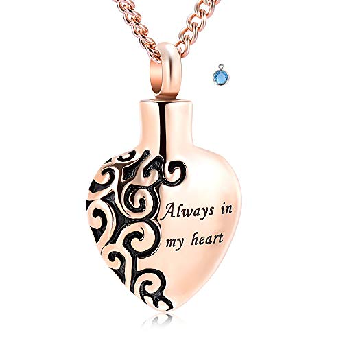 Heart Cremation Urn Pendant Necklace for Ashes Stainless Steel Gothic Heart Lockets Ashes Holder Always in My Heart Keepsake Jewelry for Loved One ()
