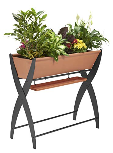 DESIGN SPECIALTIES Raised Garden Bed Trough Planter - Great for Patio Balcony - Indoor/Outdoor - Elevated and FREESTANDING to Grow Flowers Vegetables OR Herbs (Design Balcony Condo)