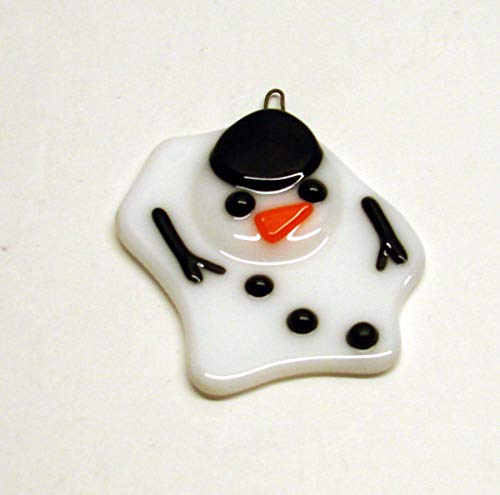 Melted Snowman Handmade Fused Glass Christmas Ornament Sun Catcher
