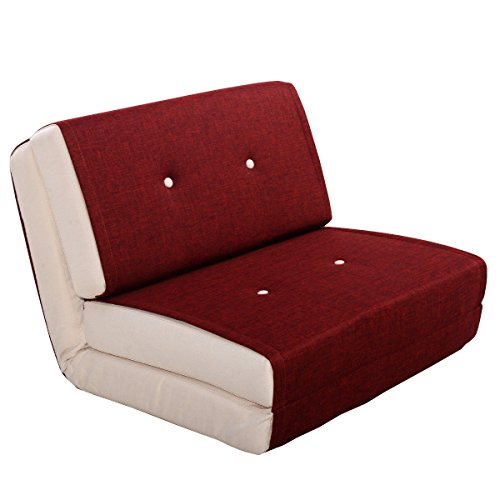 Giantex Fold Down Chair Flip Out Lounger Convertible Sleeper Bed Couch Dorm  Burgundy