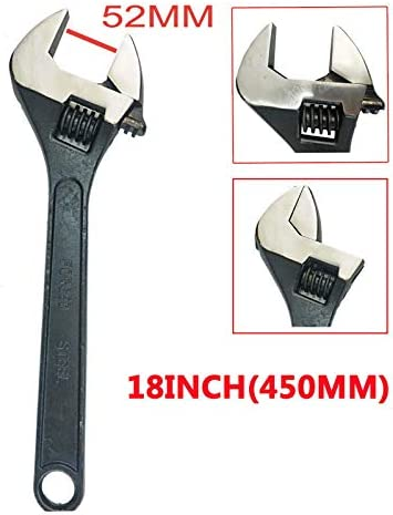 18 Inch Adjustable Spanner Wide Jaw with Long Handled for Bike Car Maintenance Workshop and DIY
