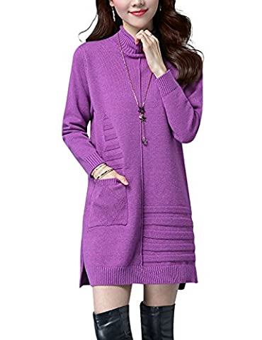 Yeokou Women's Turtleneck Pullover Thick Mini Short Sweater Dress With Pockets - Split Turtleneck Sweater