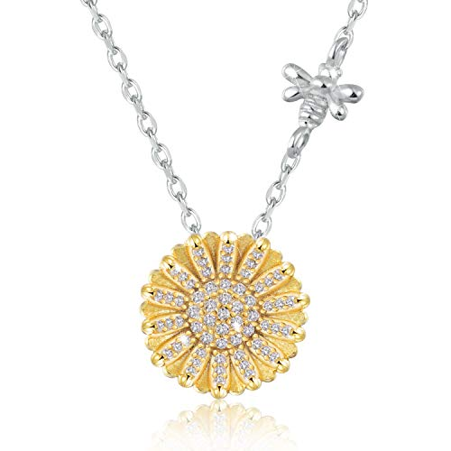 JXJL Sterling Silver Sunflower Pendant Necklace/Daisy Flower Birthday Gift Jewelry for Women Girls-You are My Sunshine