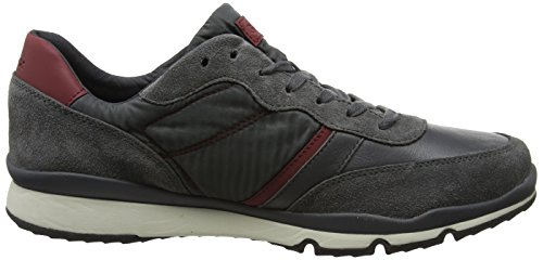 Geox Men's U Sandford B Low-Top Sneakers, Grey Grey (Anthracite/Bordeaux C9381)