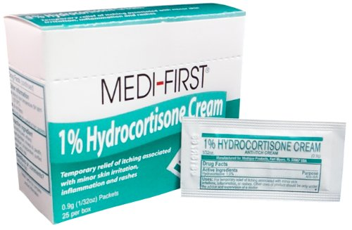 Cortaid 1% Cream (Medi-First Anti-Itch Cream, 1% Hydrocortisone, Maximum Strength, 1/32 Ounce - MS60725 (25 Packets))