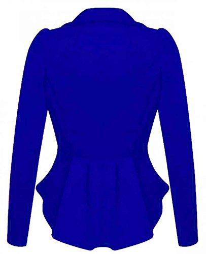 volant 56 Aderente Taglie Taglie a Donna 40 con Casual Royal Blue Giacca Peplo Abbigliamento Da Ufficio da Forti Blazer FPazqa