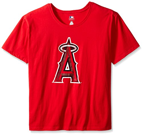 Profile Big & Tall MLB California Angels Women's Short Sleeves Scoop Neck Top, 2X, Red