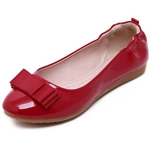 Flache Auf Schließen Rot Damen Pu Ziehen Zehe Schuhe kunstleder AgooLar OqUYI7wB