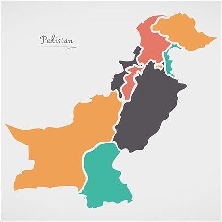 Holzbild 30 X 30 Cm Pakistan Landkarte Modern Abstrakt Mit Runden