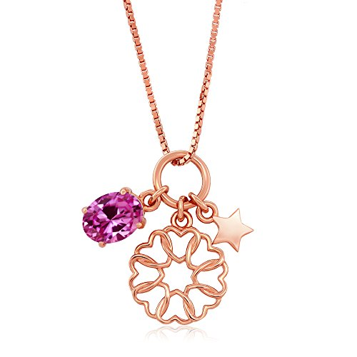 Pink Sapphire Rose Charm - 1