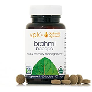 Organic Brahmi | 60 Herbal Tablets - 500 mg ea. | Natural Brain Tonic for Mental Clarity & Optimal Mental Functioning